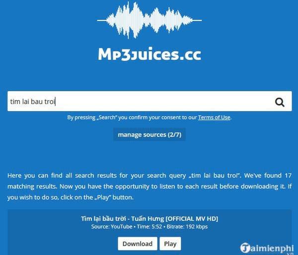 Download MP3Juices web - Tìm kiếm và tải video, nhạc MP3