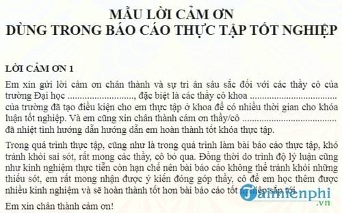 mau loi cam on dung trong bao cao thuc tap tot nghiep