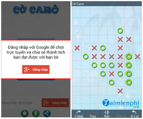 Tải Co Caro, game trí tuệ cho Android, iPhone, game cờ caro -taimienph