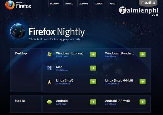 Download Firefox Nightly 60 0a1 - Trình duyệt Firefox cho nhà phát tri