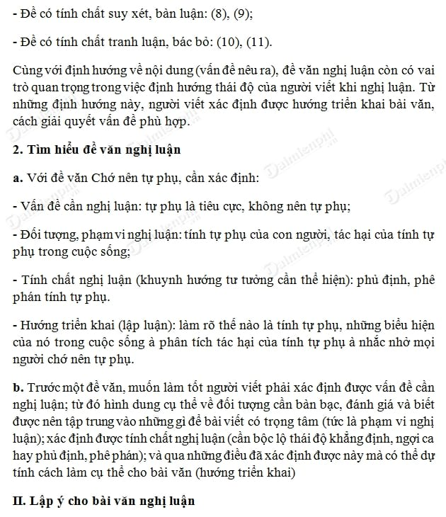 soan bai lap y cho bai van nghi luan