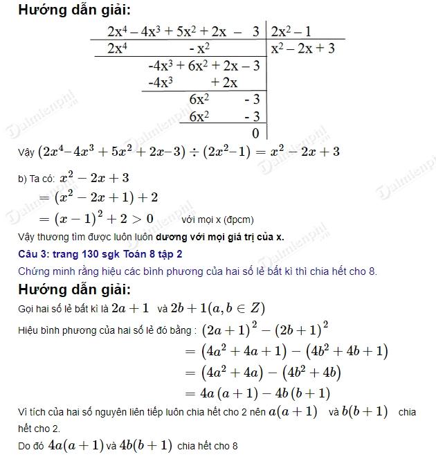 giai toan 8 trang 130 131 sgk tap 2 on tap cuoi nam phan dai so 2