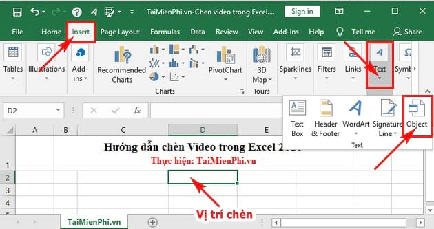 cach chen video vao excel 2