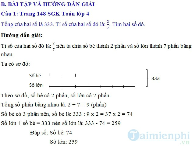 Giai bai tap trang 148 SGK toan 4