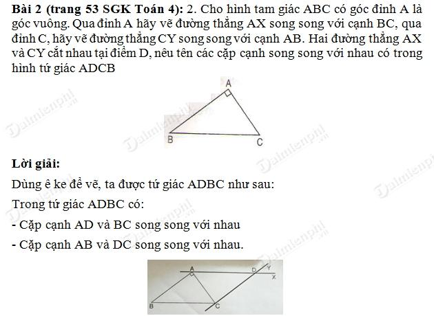 giai toan lop 4 ve hai duong thang song song