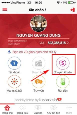 huong dan chuyen tien ngan hang techcombank tu dien thoai 2