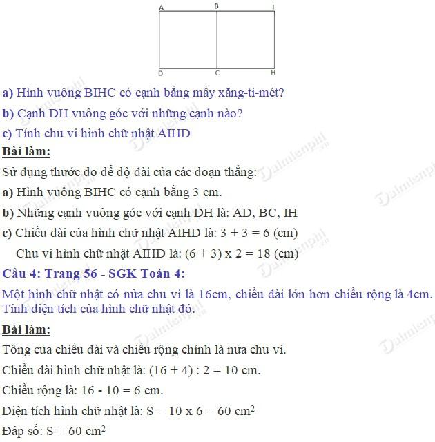 giai toan 4 trang 56 sgk luyen tap chung 2