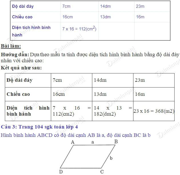 giai toan 4 trang 104 105 sgk luyen tap 2