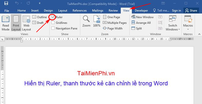 hien thi ruler trong word 2016