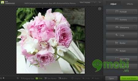 Ở phía bên phải màn hình là các chức năng giúp bạn chỉnh sửa bức ảnh đẹp  hơn với nhiều tiện ích và hiệu ứng khác nhau.