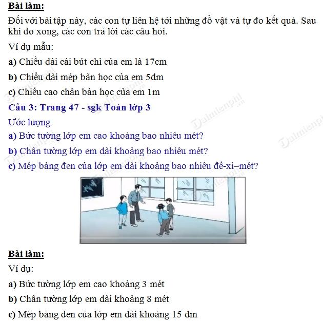 giai toan 3 trang 47 sgk thuc hanh do do dai 2