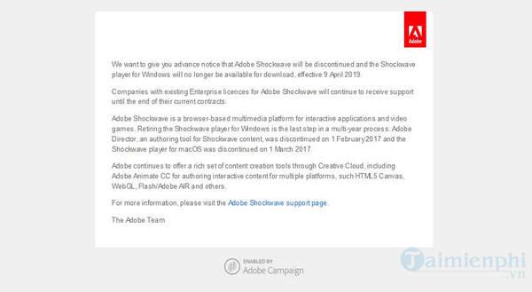 Adobe gửi email thông báo khai tử Shockwave vào ngày 9/4