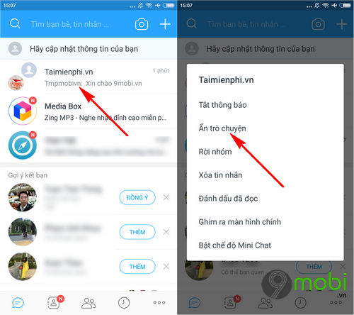 Cách ẩn và tìm lại tin nhắn bị ẩn trong Zalo trên Android, iPhone