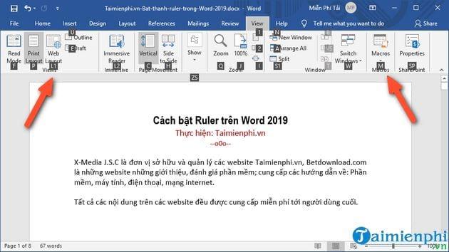 cach bat ruler tren word 2019 2