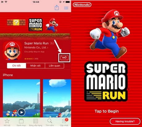 cai super mario run tren iphone