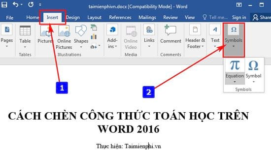cach chen cong thuc toan hoc tren word 2016 2