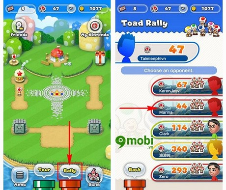 cach choi che do toad rally trong Super mario run