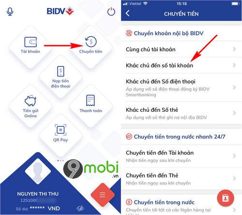 cach chuyen tien ngan hang bidv smart banking tren dien thoai 2