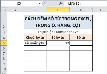 cach dem so tu trong excel trong o hang cot 2