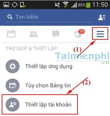 doi mat khau facebook tren dien thoai android