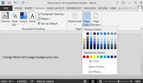 How to change the background color in word 2010 2013 for Change background color of html page