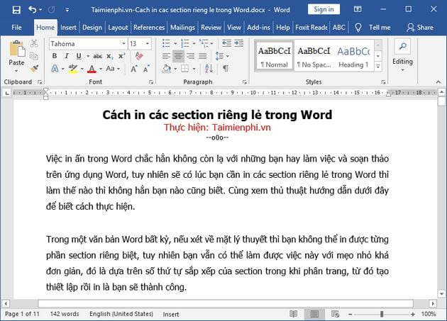 cach in cac section rieng le trong word 2