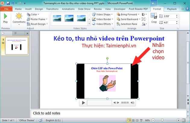 cach keo to thu nho video tren powerpoint chinh kich thuoc video 2