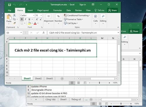 cach mo 2 file excel cung luc open nhieu file tren excel 2003 2007 2010 2013 2016 2