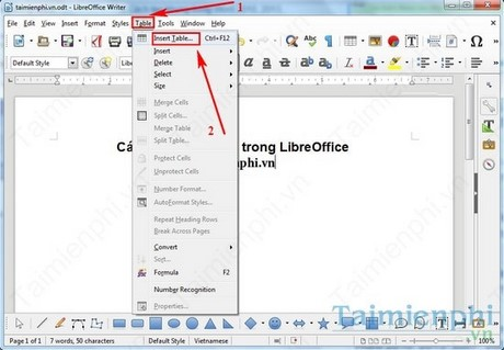 them bang trong libreoffice