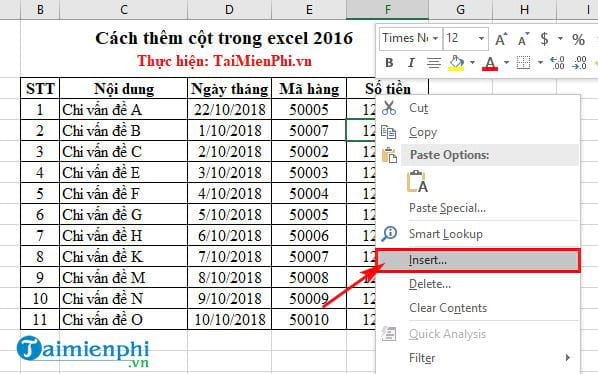 cach them cot trong excel 2016 2