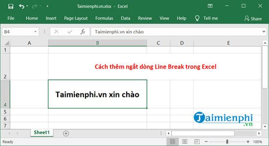 cach them ngat dong line break trong excel 2