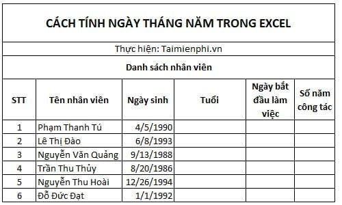 cach tinh ngay thang nam trong excel 2