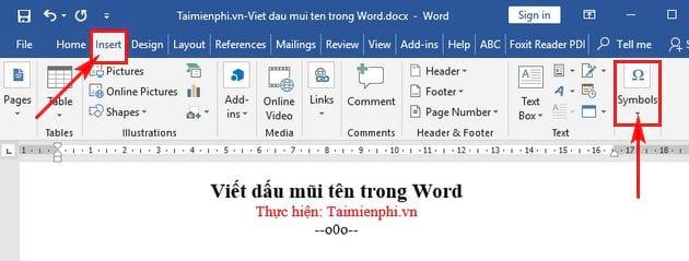 Cách viết dấu mũi tên trong Word 2016, 2013, 2010, 2007