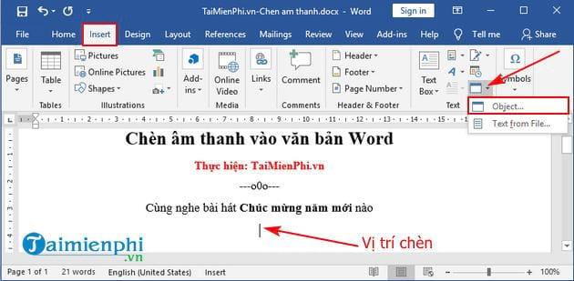 chen am thanh vao van ban word 2