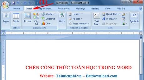 chen cong thuc toan hoc trong word 2007