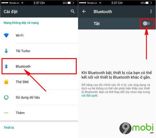 share danh ba qua Bluetooth