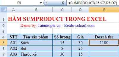 ham sumproduct trong excel