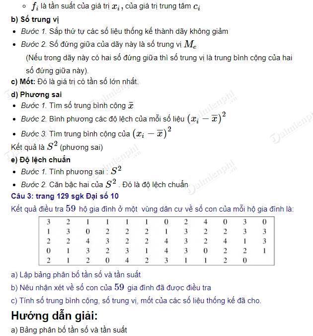 giai toan 10 trang 128 den 130 sgk tap 1 on tap chuong 5 thong ke 2