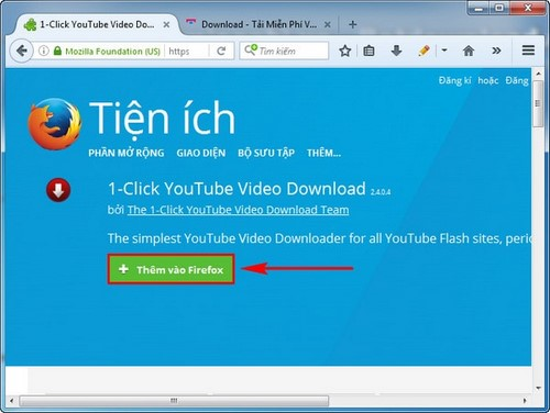cach tai video youtube bang add ons tren firefox