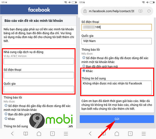 facebook khong gui ma xac nhan ve dien thoai phai lam sao 2