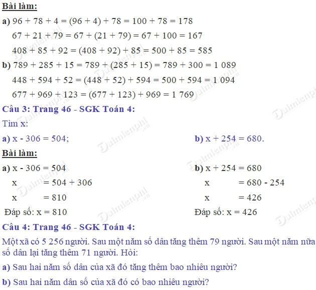 giai toan 4 trang 46 sgk luyen tap tinh chat ket hop cua phep cong 2