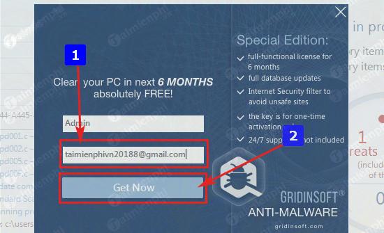 giveaway ban quyen mien phi gridinsoft anti malware 3