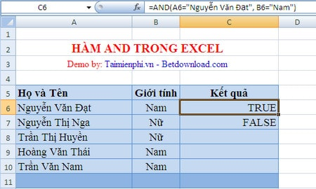 ham tinh toan trong excel
