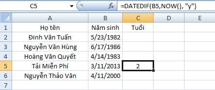 Hàm DATEDIF trong Excel, đếm số ngày, tháng, năm trong Excel 2016 2013