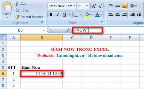 Excel Now Function Function Returns The Current Date