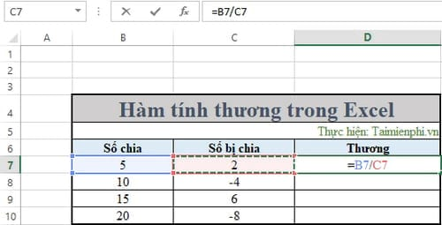 ham tinh thuong trong excel 2
