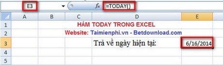 ham today trong excel