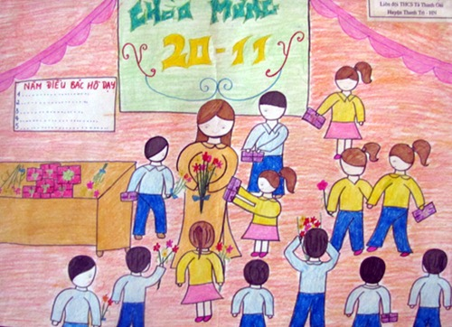 Tranh vẽ cô giáo và học sinh, tranh vẽ kỷ niệm 20/11