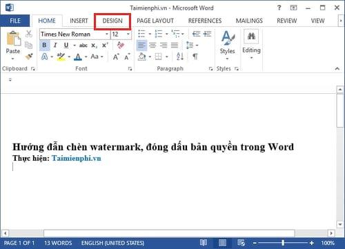 huong dan chen watermark dong dau ban quyen trong word 2