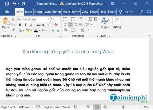 huong dan xoa khoang trang giua cac chu trong word 2